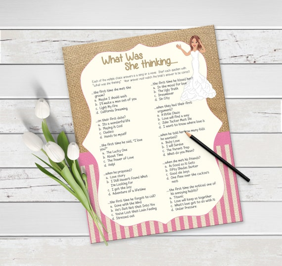 Burlap, What was she Thinking Bridal Shower Game, Bridal Shower Song Game,  Couples Bridal Shower Game, Engagement Party, D809