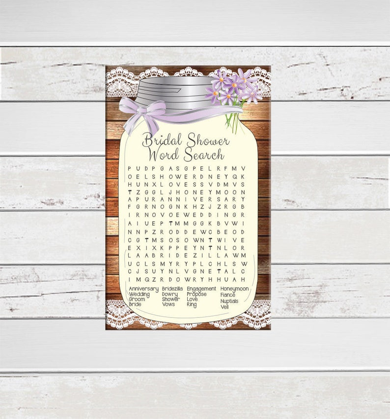 Word Search Bridal Shower Games, Floral Bridal Shower, Rustic Shower Games,  D1503