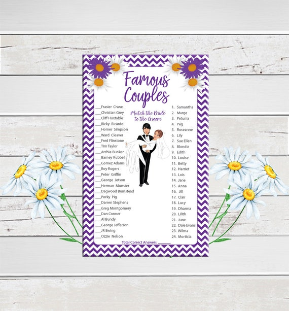 Famous Couples Bridal Shower Game Purple Flowers Groom Etsy