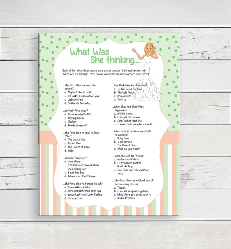 What was She Thinking, Bridal Shower Game, Confused Bride, Peach Stripes,  Poke-a-Dots, Wedding Shower Game, Couples Shower Game, D1716