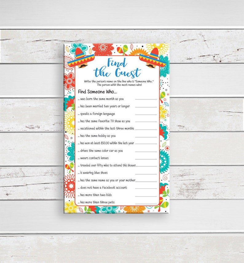 Find the Guest Bridal Shower Game, Mexican Fiesta Theme, Ice Breaker Game,  Instant Download, Couples Shower Game, D1712