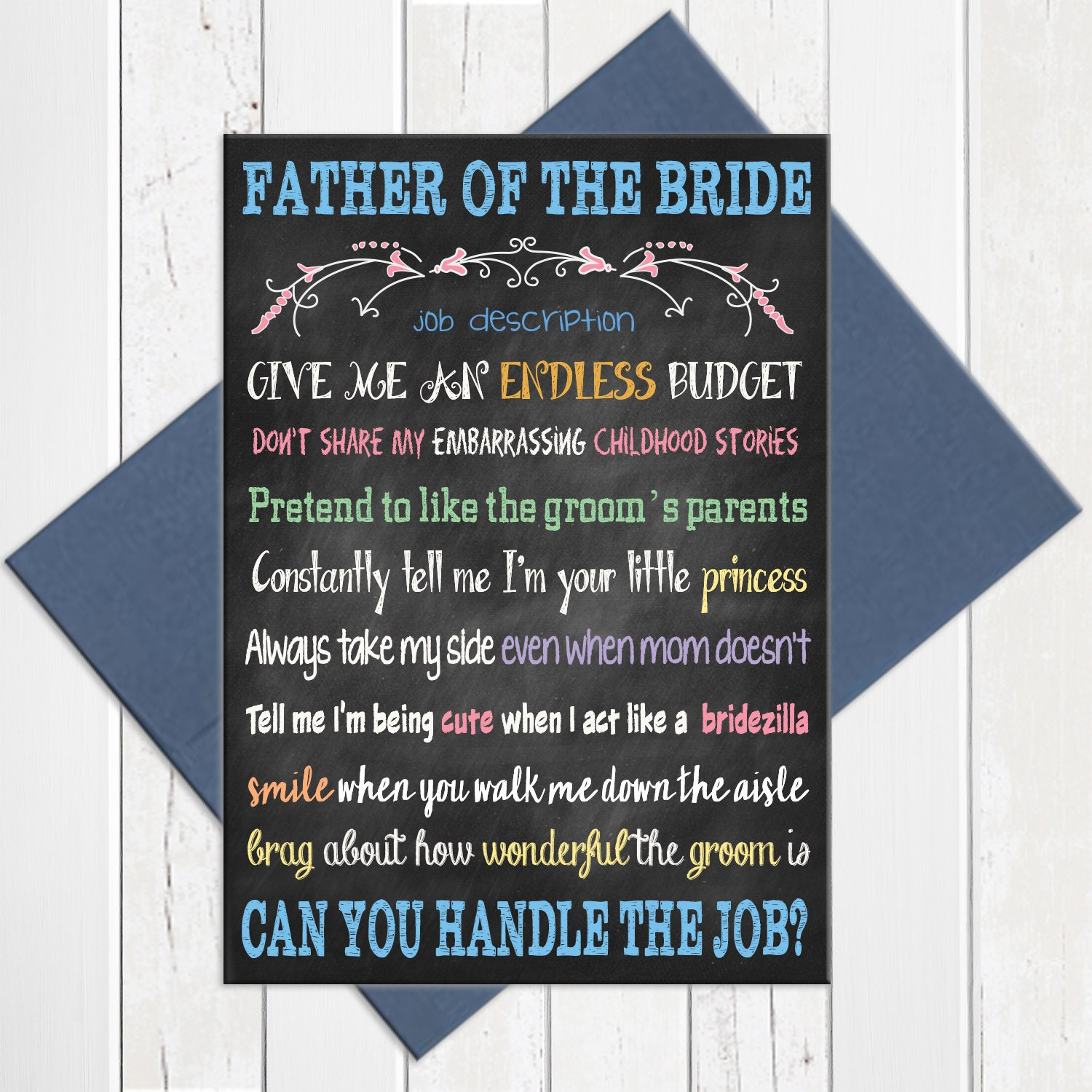 Father Of The Bride Card, Father Of The Bride Job