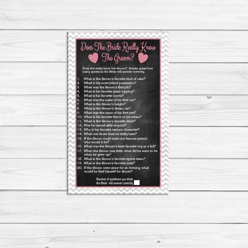 Does the Bride know the Groom Bridal Shower Game, Wedding Shower Game,  Couples Shower Game, Silver, D1031
