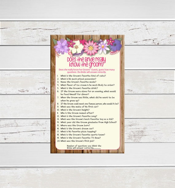 Rustic Wood Bride Know Groom Bridal Shower Game Floral Etsy