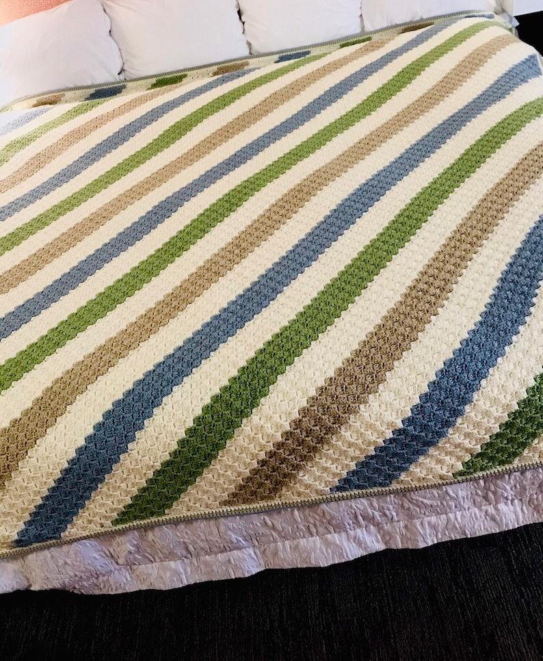 Crocheted C2C Striped Afghan