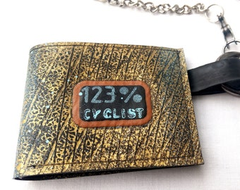 Cyclist Enamel Mens Leather Wallet BLACK or BROWN Cycling Gift 96