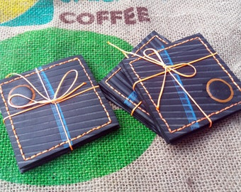 Coasters / set of 12 / tractor inner tube coasters / upcycled coasters / waterproof handmade coasters