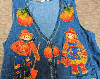 Handmade vintage denim vest w. applique patterns. Scarecrows, pumpkin, autumn/fall leaves, harvest corn. Texas Halloween & Thanksgiving