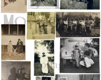 Vintage Halloween Photographs Number 1 Digital Download Collage Sheet