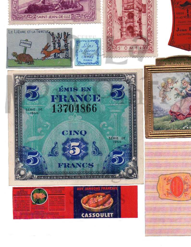 French Stuff Number 3 Digital Download Collage Sheet