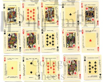Vintage Playing Cards with Fortunes Digital Download Collage Sheet