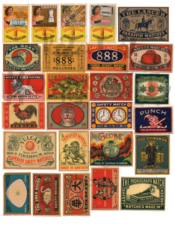 Collage Matchbox Label Cover Czech Giant Wall Art Poster Print