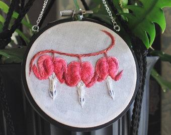 Hanging Hoop Bleeding Heart Flowers Embroidery