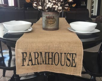 Farmhouse Table Runner, Burlap Table Runner, Table Runner,