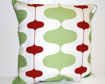 Christmas Fun Swirls Pillow Covers 12x16, 16x16, 18x18 Red and Green Throw Pillow