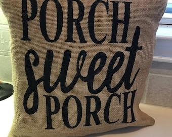 Burlap Porch Sweet Porch Pillow Cover, Throw Pillow, 16x16 Pillow Cover