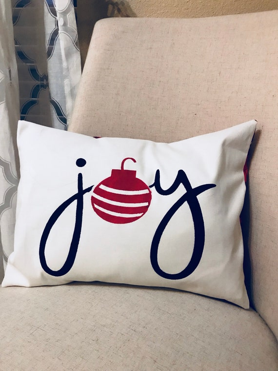 Joy Pillow Cover Throw Pillow Christmas Pillow Cover Home Etsy