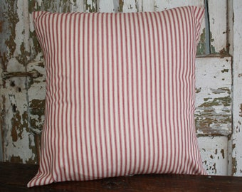 Christmas Ticking Pillow Cover, Red and Cream Striped, 12x16, 16x16, 18x18, Holiday  Throw Pillow