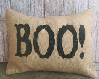 Halloween Boo Burlap Pillow Cover,  12x16, 16x16 or 18x18 Throw Pillow Cover, Home Decor Pillow Case