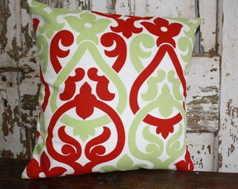 Christmas Pillow Cover, Red and Green Swirls, 12x16, 16x16, 18x18, Holiday  Throw Pillow