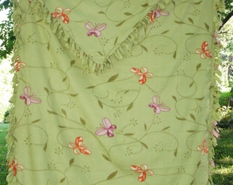 "Fleece Blanket -  Twin Bed Size Butterfly Print  - light green 88"" X 58"""
