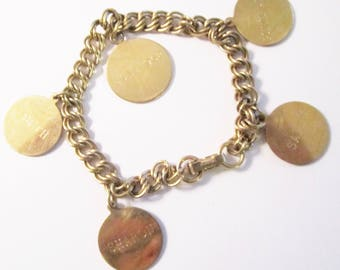 Vintage Gold Filled Charm Bracelet with 5 Discs Commemorating Girl Scout Roundup of June 1962