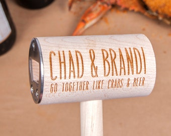 For Maryland Brides and Grooms: Set of 50-200 Personalized Crab Mallet Bottle Opener Wedding Favors, Engagement Party Favors, Shower Favors