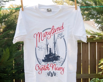 Maryland Oyster Navy American Apparel T-Shirt; Chesapeake Oyster Wars Commemorative Historical Tee size XS