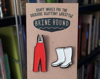 Watermen's Gear Enamel Lapel Pin Set | Orange Grundens and White Rubber Shrimp Boots | Set of 2 Pins | Foodie Gifts