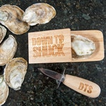 Down to Shuck Oyster Knife and Shucking Block Gift Set | Groomsmen Gift | Anniversary Gift
