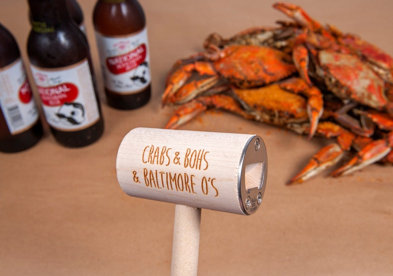 Crab Mallet and Craft Beer Bottle Opener featuring Baltimore image 0
