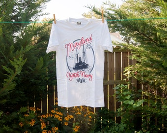 Maryland Oyster Navy American Apparel T-Shirt; Chesapeake Oyster Wars Commemorative Historical Tee Father's Day Gift