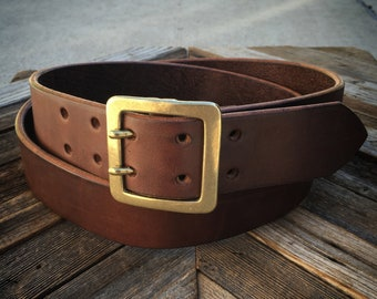 Leather Belt with Double Prong Buckle