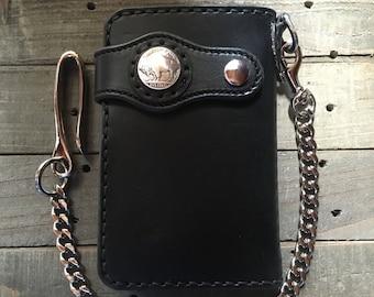 Handmade Leather Mid Wallet Biker Wallet Chain Wallet (Black/Silver)