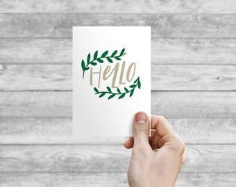 Greeting Card - Hello | Hand Lettering, Thank You Card, Wedding Card, Wedding Shower Card, Anniversary Card