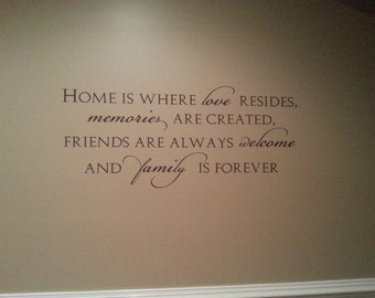 DIY Home is where love resides quote wall window glass decor vinyl decal