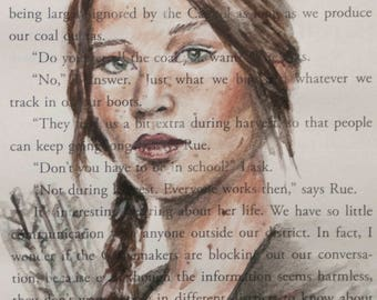 ORIGINAL Hunger Games Katniss Everdeen Book Illustration Page Painting