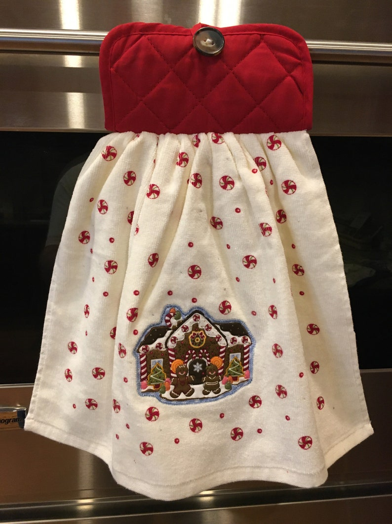 Appliqued ChristmasWinter hanging stay put kitchen towel