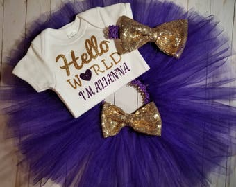 Hello World, Tutu and Onesie Set