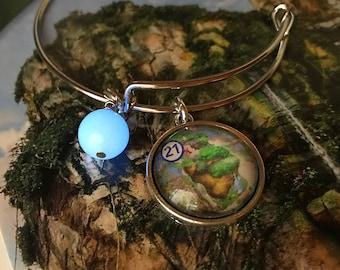 Disney charm bracelet, Disney Park map, Pandora bracelet, upcycled jewelry, Disney Pandora, first anniversary gift, Banshee, Disney Avatar