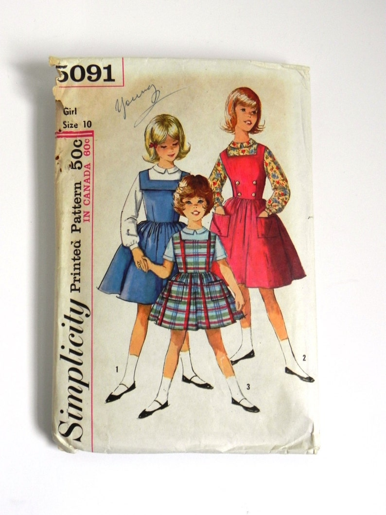 9506a85b4f4 SIZE 10 5091 GIRL S Simplicity Sewing Pattern 1950s
