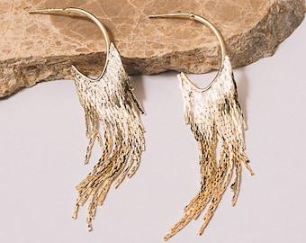 Gold Fringe Earrings Dangle Chain Earrings Gold 70s Earrings Gold Chain Earrings Janna Conner