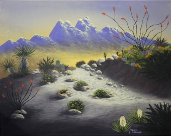 """A Giclee print of a Southwest desert landscape. This print is of my original acrylic painting """"Desert Peak""""."""