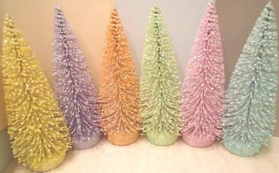 6 Putz Christmas Easter Bottle Brush Sisal trees shabby chic yellow straw mini