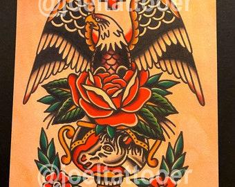 Eagle and Vase Art Print 8x10