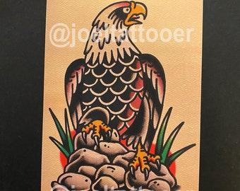 Eagle On Rocks Art Print 5x7