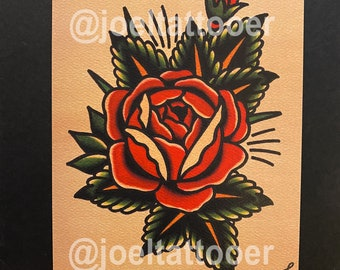 Rose With Leaves Art Print 5x7
