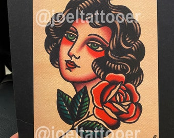 Girl Head Art Print 5x7