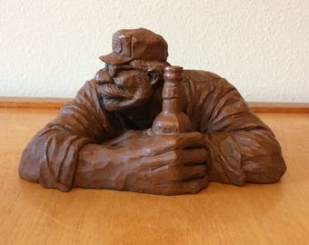 Man Drinking Beer Figurine from Red Mill MFG - Made in USA - Crushed Pecan Shells