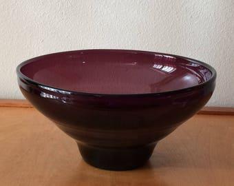 Large Purple Blenko Glass Bowl - Centerpiece Decretive